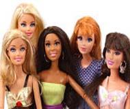 How many barbie dolls are there in the picture?