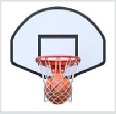 Choose the suitable preposition to complete the sentence.</br> The Basketball is ________ the basketball hoop.