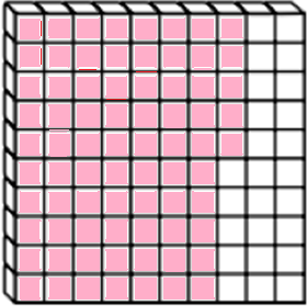 What percentage of the shape is shaded pink?